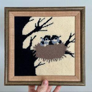 Wood Framed Needlepoint Wall Art